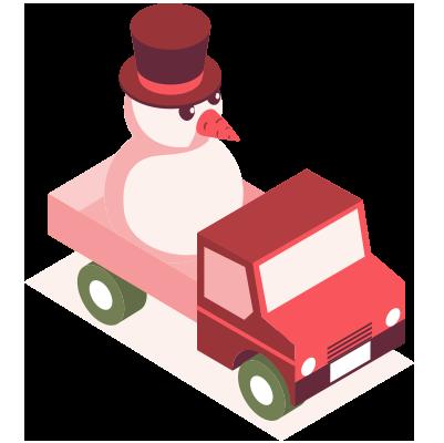 Lumiukko rekassa